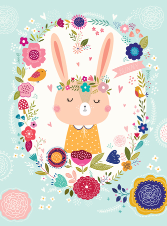 Illustration pour Illustration with cute bunny and flowers - image libre de droit