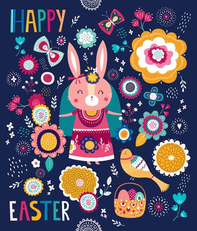 Ilustración de Illustration with cute bunny and flowers. Easter illustration - Imagen libre de derechos