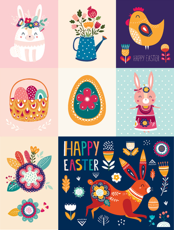 Illustration pour Vector illustrations with cute bunny, Easter egg and flowers. Easter illustration - image libre de droit