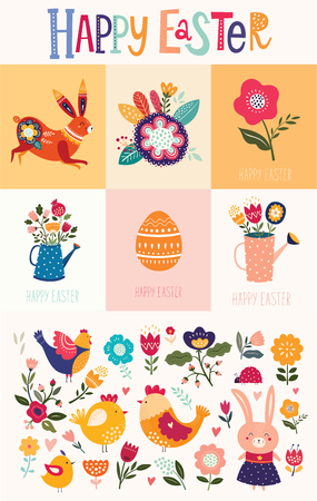 Illustration pour Vector collection of Easter greeting cards with cute bunny and flowers. Easter illustrations - image libre de droit