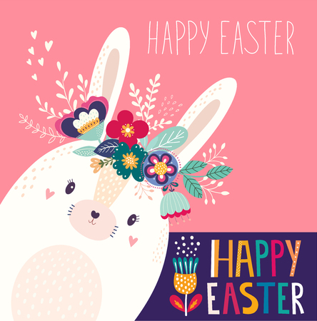 Illustration pour Vector illustration with cute bunny and flowers. Easter illustration - image libre de droit