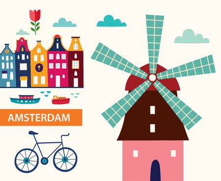 Illustration for Cartoon style with symbols of Amsterdam - Royalty Free Image