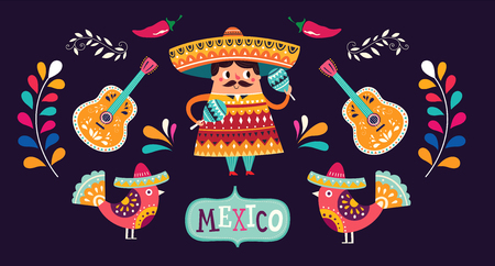 Illustration for Mexican pattern for Cinco De Mayo - Royalty Free Image