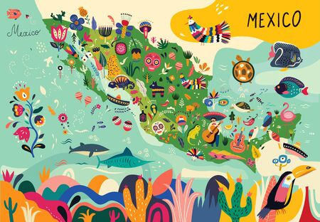 Illustration for Map of Mexico with traditional symbols and decorative elements. - Royalty Free Image