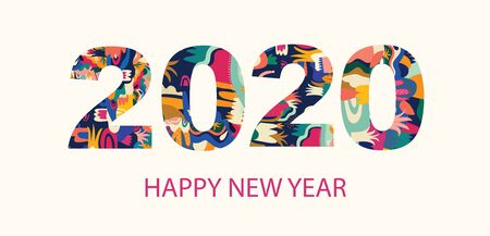 Illustration pour 2020 Happy New Year  illustration - image libre de droit