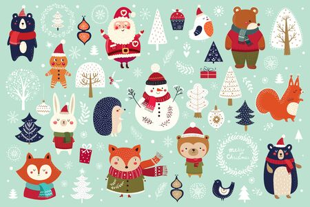Illustration pour Christmas collection with cute animals - image libre de droit