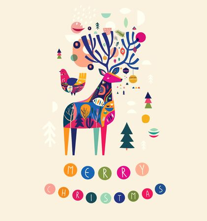 Illustration for Modern template with Christmas deer in Scandinavian style. Abstract holiday illustration for Christmas and New Year decoration - Royalty Free Image
