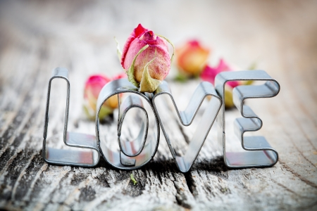 Photo for Cute little cookie cutters for word love  - Royalty Free Image