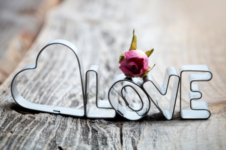 Photo pour Letters of love cookie cutters with dried roses - image libre de droit