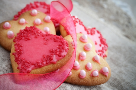 Pink heart shape cookies for Valentine�卒s Day celebration