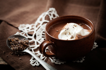 Photo for Hot chocolate with a hint of lavender - Royalty Free Image