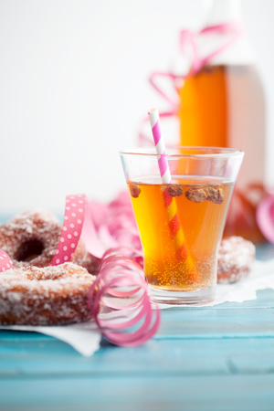 Photo for Traditional finnish sima and sugar donuts - Royalty Free Image