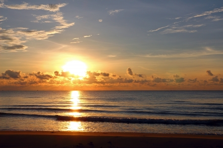 Sunrise at the beach in Thai