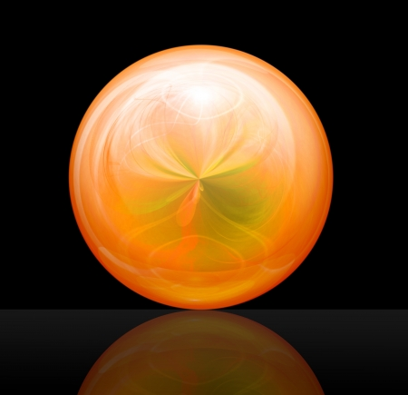 magic ball orange against a dark background