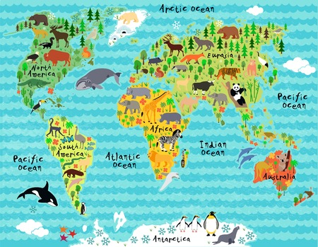 Illustration for Animal map of the world for children and kids - Royalty Free Image