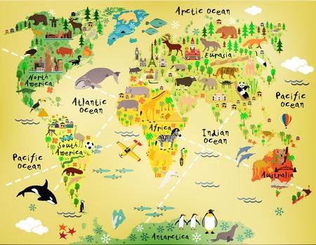 Illustration for Cartoon world map - Royalty Free Image