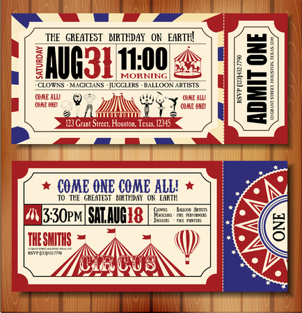 Illustration pour Birthday card with Circus Ticket - image libre de droit