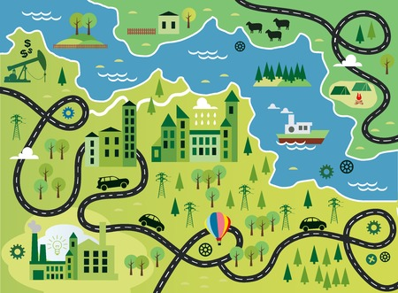 Illustration pour Cartoon map with river - image libre de droit