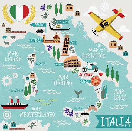 Illustration pour Cartoon Map of Italy - image libre de droit