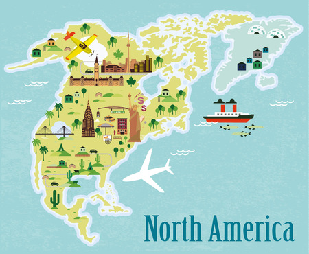 Illustration pour Cartoon map. North America. - image libre de droit