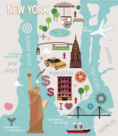 Illustration pour Cartoon map of new york city - image libre de droit