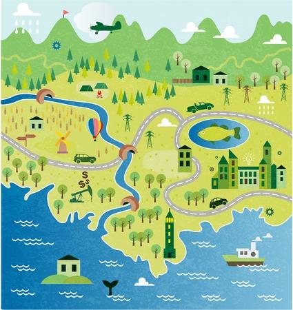 Ilustración de Cartoon map - Imagen libre de derechos