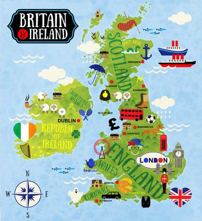 Ilustración de Cartoon Maps of Britain and Ireland for child - Imagen libre de derechos