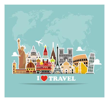 Illustration pour World landmarks  icons set. Vector illustration - image libre de droit