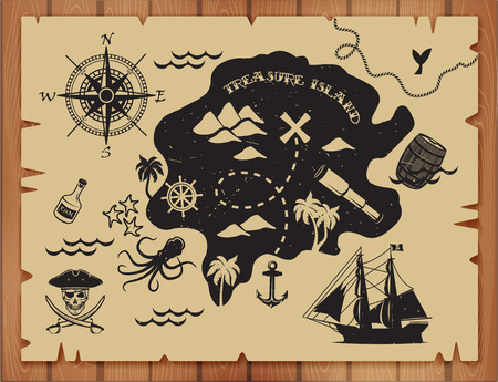 Illustration for Pirate map pattern with island - Royalty Free Image
