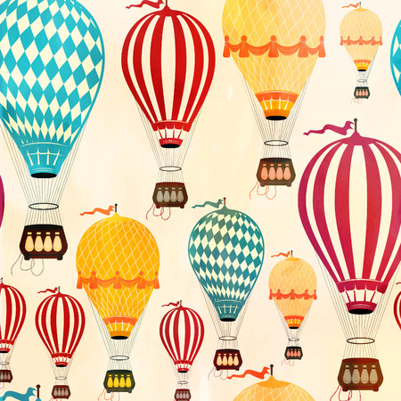 Ilustración de Vintage  Color Air balloon pattern.  Vector illustration. - Imagen libre de derechos