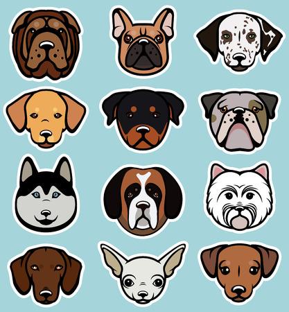 Illustration pour Vector set of funny cartoon dogs. Vector illustration. - image libre de droit