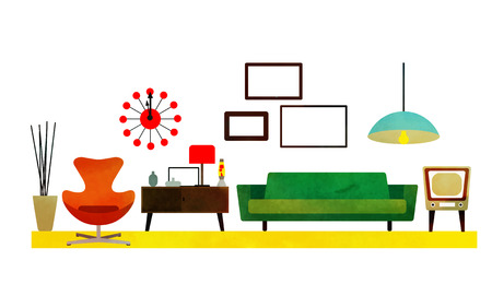 Illustration pour Retro Living Room Design with furniture. Flat style vector illustration. - image libre de droit