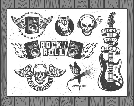 Illustration pour Set of vector symbols related to rock and roll - image libre de droit