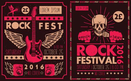 Illustration pour Vintage rock festival posters. Set of vector symbols related to rock and roll. - image libre de droit