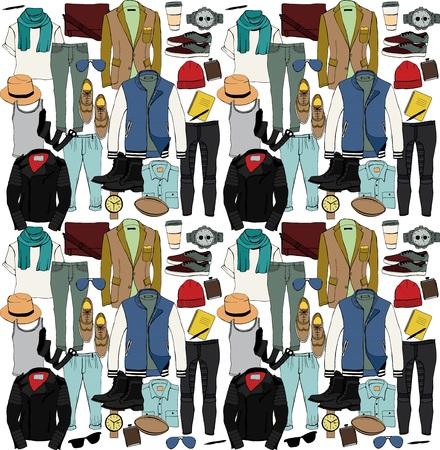 Illustration for Fashion illustration clothing set. Mens clothes. Vector - Royalty Free Image
