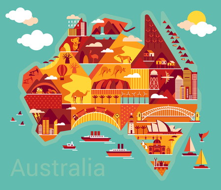 Illustration for Australia map with landscape and animal. Vector illustration. - Royalty Free Image