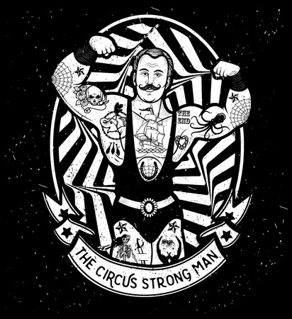 Illustration for The strong man. Vector illustration. Illustration of circus star. - Royalty Free Image