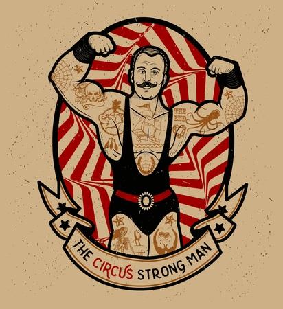 Ilustración de The strong man. Vector illustration. Illustration of circus star. - Imagen libre de derechos