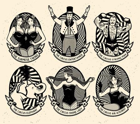 Photo pour Circus set. Monochrome icons collection. Vector illustration. Illustration of circus stars. - image libre de droit