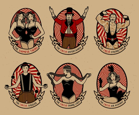 Foto de Circus set. Monochrome icons collection. Vector illustration. Illustration of circus stars. - Imagen libre de derechos