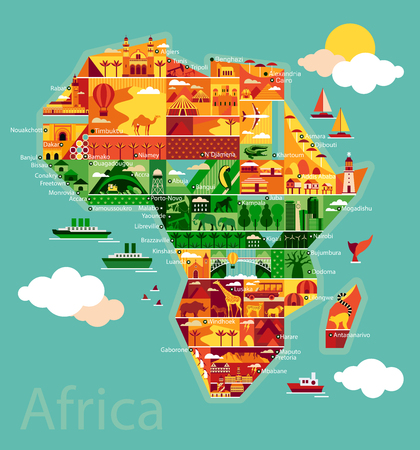 Illustration for Africa map with landscape and animal. Vector illustration. - Royalty Free Image