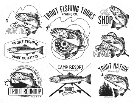 Illustration pour Set of vector fishing emblem with trout - image libre de droit