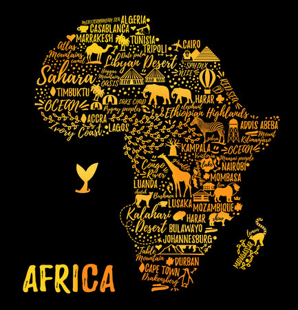 Illustration pour Typography poster. Africa map. Africa travel guide - image libre de droit