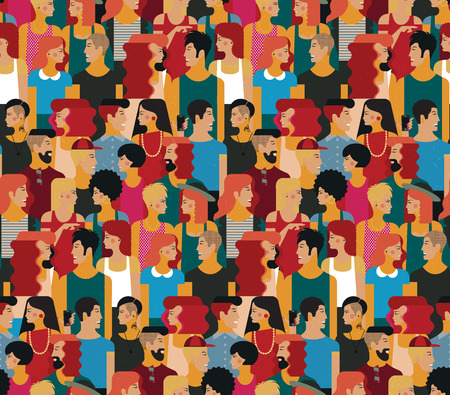 Illustration pour Seamless Vector Pattern with a Crowd of Young People. Flat design, vector illustration. - image libre de droit