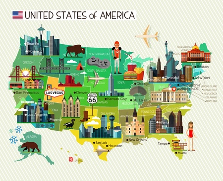 Illustration pour Map of the United States of America and Travel Icons. Vector Illustration. - image libre de droit