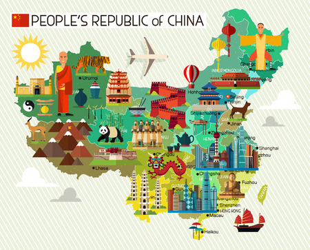 Ilustración de Map of China and Travel Icons.China Travel Map. Vector Illustration. - Imagen libre de derechos