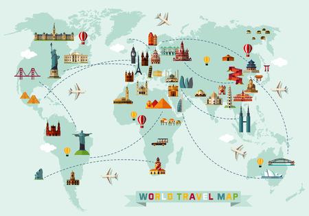 Ilustración de Map of the World and Travel Icons. - Imagen libre de derechos