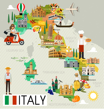 Illustrazione per Italy Travel Map. - Immagini Royalty Free