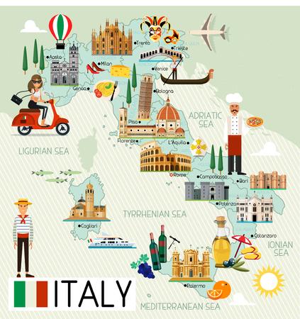 Ilustración de Italy Travel Map. - Imagen libre de derechos