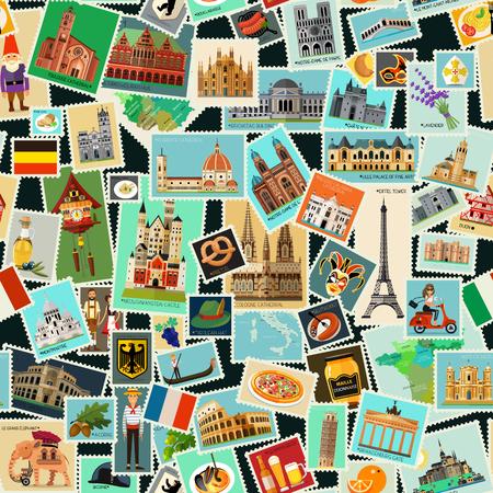 Foto de Postage stamps pattern - Imagen libre de derechos